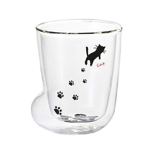 耐熱二層ソックスグラスS ガラスコップ ねこ 足あと H-4717 アデリア 210ml 電子レンジ使用可 食器石塚硝子 猫 雑貨 通販   先着順  9/3まで