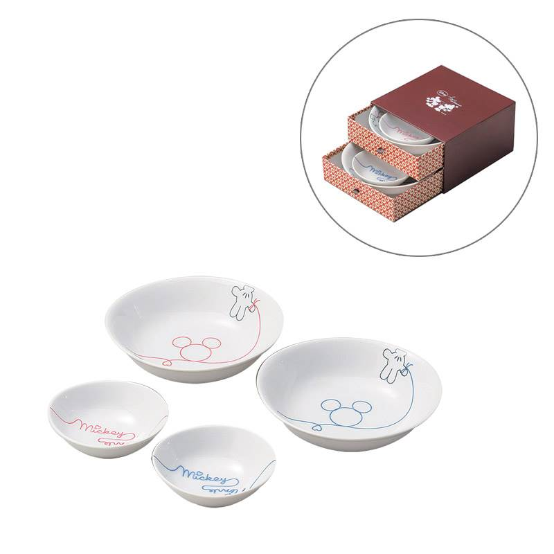 Pair pot four set Dinnerware gift set Mickey Mouse LOD erode Disney Sango China 17.5 cm large bowl x 11 cm 2 small bowl x two gift gadgets store  sc 1 st  Rakuten : disney dinnerware sets - pezcame.com