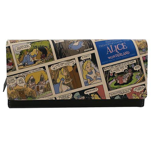 レザーかぶせ ロング ウォレット レディース 本革 長財布 ふしぎの国のアリス コミックアート ディズニー ディバージョン 日本製 おしゃれ