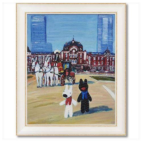 アート フレーム Lサイズ TOKYO STATION リサとガスパール フレンチ アート 額付ポスター 可愛い ギフト 取寄品