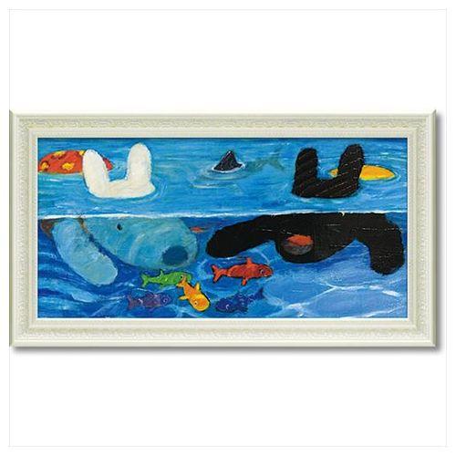 アート フレーム L ワイド プールあそび リサとガスパール フレンチ アート 額付ポスター 可愛い ギフト 取寄品