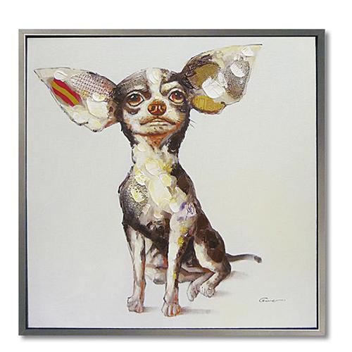 オイル ペイント アート スウィートチワワ アートポスター 額付 動物画 特大配送 可愛い 犬 インテリア 雑貨 取寄品