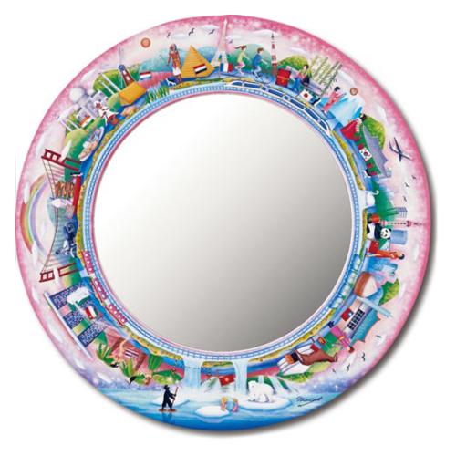 【タブローズ アートミラー Lサイズ】 World Trip 鏡 なかの まりの ユーパワー 40×40cm 可愛い ギフト 雑貨 インテリアグッズ通販【取寄品】マシュマロポップ【全品ポイント5倍】12/26まで
