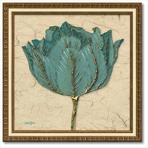 Art Frames ゴールドターコイズチューリップ ダイアン スティムソン フラワー アート 花 額付きポスター インテリアグッズ 取寄品