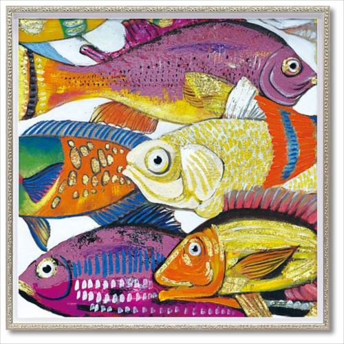 オイルペイントアート アンダーザシー1 Mサイズ 動物画 油絵 額装品 インテリアグッズ 取寄品