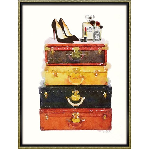 ブランド キャンバスアート メイクアップ ラゲッジ(Lサイズ) アマンダ グリーンウッド インテリアパネル 63.5x83.5cm 額付き ポスター インテリアグッズ 取寄品