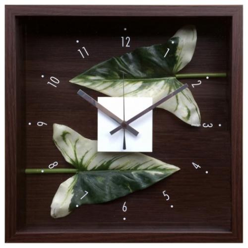 送料無料 Design Clock LEAF 掛け時計 デザインクロック リーフ アンスリウム 美工社 CDC-51813 32x32x5.7cm リーフアート ギフトインテリア 取寄品