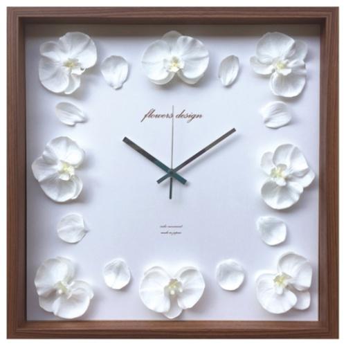 【送料無料】Orchid Clock 掛け時計 オーキッドクロック ホワイト 美工社 COC-52452 42.5×42.5×5.5cm 造花 ギフトインテリア 【取寄品】