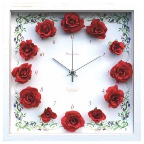 【送料無料】Flower Clock 掛け時計 フラワークロック Rose Red 美工社 CRC-51694 27×27×4.2cm 造花 ギフトインテリア通販 【取寄品】【全品ポイント5倍】12/26まで
