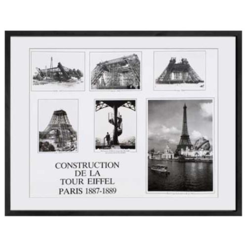 Construction de la Tour Eiffel Paris 1887-1889 写真 アート Paris Photography IPG-51320 美工社 白黒 モノクロ フォト 額付きインテリア 取寄品