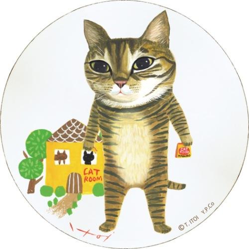 木製ラウンドアート 動物画 上品 糸井 忠晴 きなこ Lサイズ ユーパワー 毎週更新 猫 取寄品 壁掛けインテリア通販 壁掛けインテリア IT-01524 19x19x1.5cm ギフト