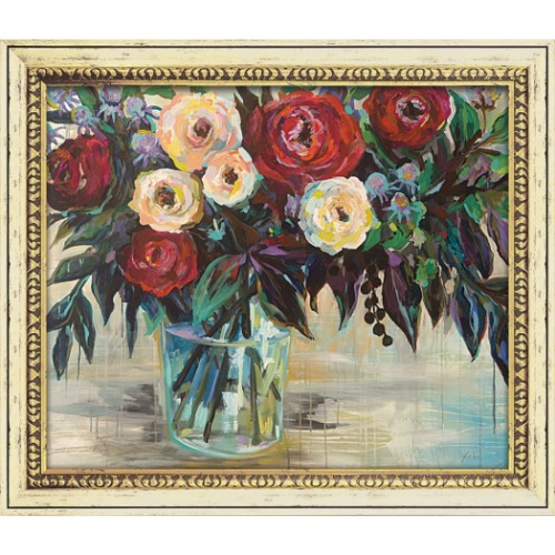 ウィンター フローラル 静物画 ジャネット ヴェルテンテス JV-16001 70.5x60.5cm ギフト 絵画 フラワーアート 額付きポスターインテリア 取寄品