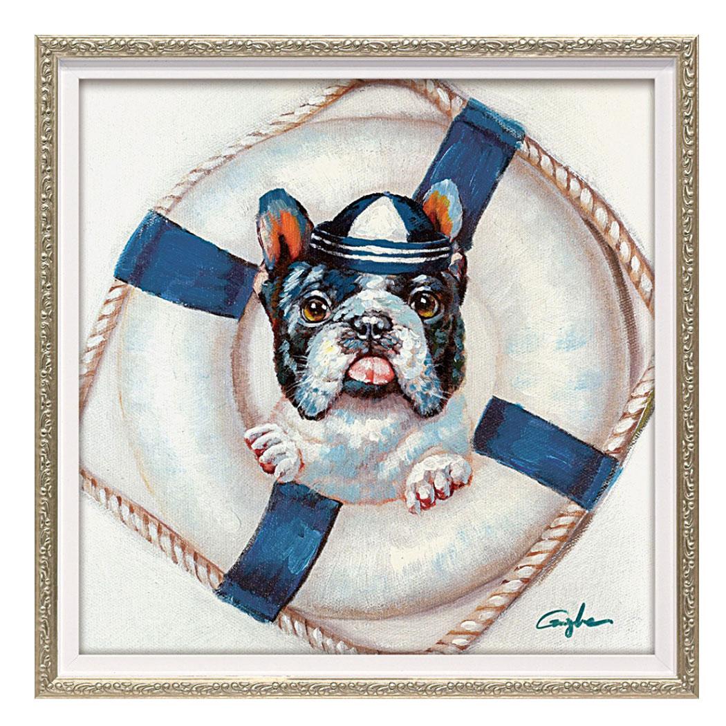 【送料無料】シーマン ドッグ 動物画 オイルペイントアート (Sサイズ) ユーパワー OP-07033 33x33cm 油絵 額付き 犬 かわいいインテリア通販 【取寄品】【全品ポイント5倍】12/26まで