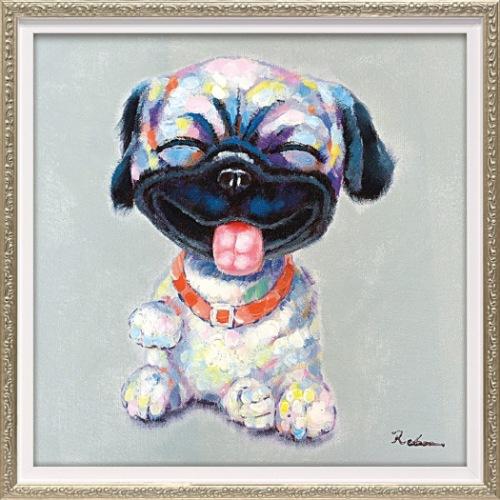 【送料無料】アッカンベー 動物画 オイルペイントアート (Sサイズ) ユーパワー OP-07036 33x33cm 油絵 額付き 犬 かわいいインテリア通販 【取寄品】【全品ポイント5倍】12/26まで