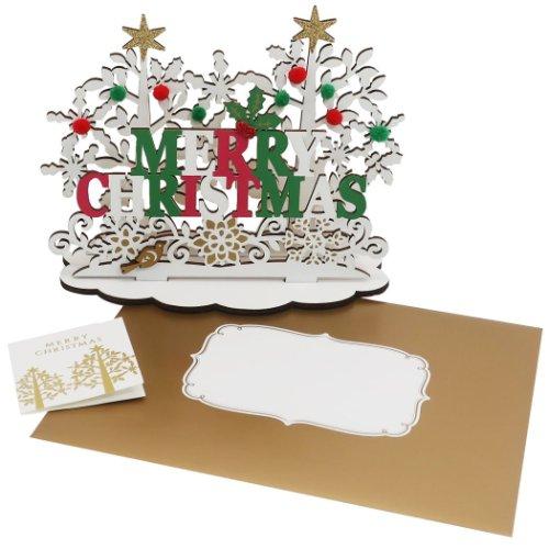 ウッドスタンドカード WoodCardseries 特価 クリスマスカード ホワイトクリスマス APJ 封筒付きグリーティングカード メール便可<br Xmas メール便可 セットアップ