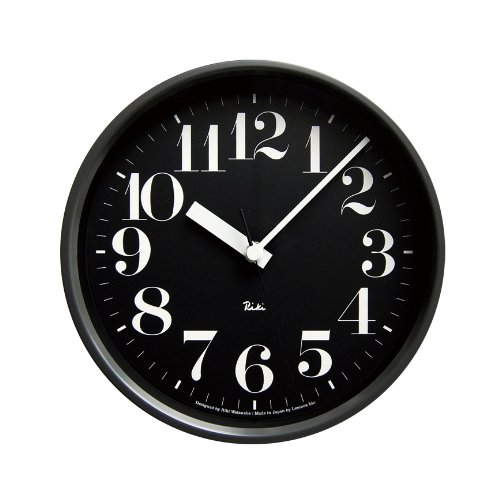Lemnos RIKI STEEL CLOCK 電波時計 ブラック WR08-25 BK