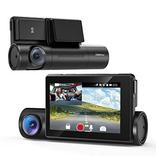 【進化版】COOAU ドライブレコーダー 1080P前後カメラ 車内カメラ 1200万画素 WiFi機能 GPS搭載 スーパーナイト LED信号機対応 電波