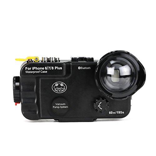 IPhone 6Plus /7Plus /8Plus 防水ケース ブラック ブルートゥース制御、195ft 60 mの認定が使える防水水中水泳ダイビングサーフシュ