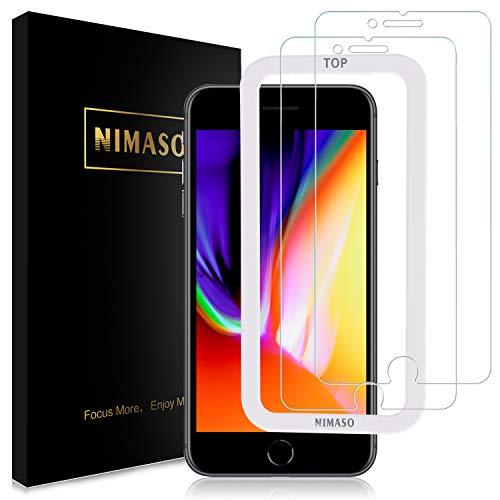 ガイド枠付き 2枚セット Nimaso iPhone8 Plus 5.5インチ用 初売り iPhone7 定番キャンバス 日本製素材旭硝子製 強化ガラス液晶保護フィルム