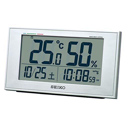 セイコークロック 置き時計 銀色メタリック メーカー公式ショップ ※アウトレット品 本体サイズ:8.5×14.8×5.3cm 電波 デジタル 湿度 BC417S カレンダー 快適度 表示 温度