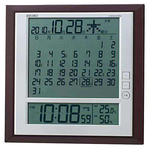 セイコー クロック 掛け時計 置き時計 兼用 月めくりカレンダー 電波 デジタル 茶 SEIKO 評価 表示 温度 メタリック 返品交換不可 六曜 SQ421B 湿度