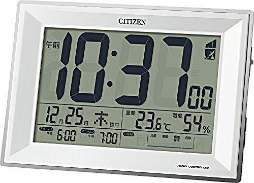 CITIZEN シチズン 目覚まし時計 訳ありセール 格安 電波時計 温度計 8RZ151-003 117x173x57mm パルデジットワイドDL 最新 白 湿度計付き