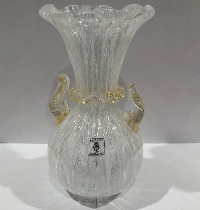 クラッシー ヴェネチアンガラス イタリア製 ガラス バラリン 装飾品 花瓶 かびん レース レース模様 ホワイト 白 BALLARIN