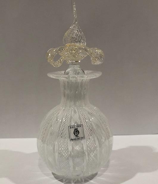 クラッシー ヴェネチアンガラス イタリア製ガラス バラリン パフュームボトル ふた付き香水瓶 花瓶 一輪挿し 白 ホワイト 贈答品 装飾品 実用的