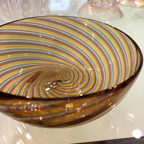 クラッシー ヴェネチアンガラス イタリア製 リネアボウル 小皿 花器 オレンジブラウン