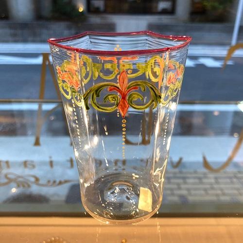クラッシーヴェネチアンガラス ベネチアン グラス コップ 6角ウォーターグラスエナメル彩フラワー