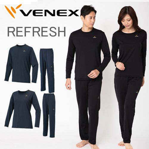 VENEX メンズ レディース リフレッシュTシャツ 上下セット ロングスリーブ ロングパンツベネクス リカバリーウェア 疲労回復 パジャマ 快眠 安眠