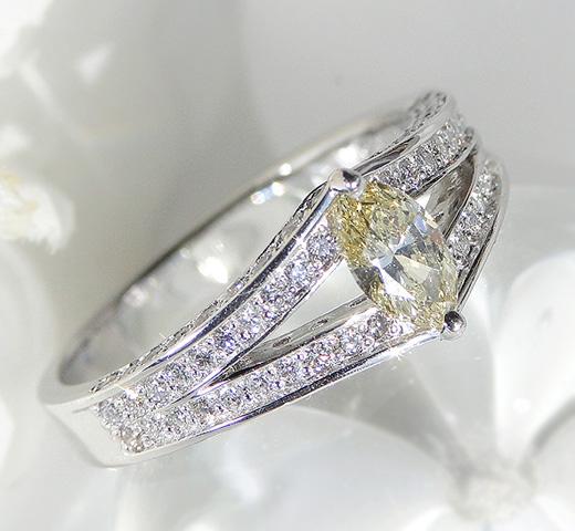 【数量限定】pt900 大粒 天然 イエローダイヤモンド マーキスカット リング 送料無料 品質保証書付 ベリーライトイエロー