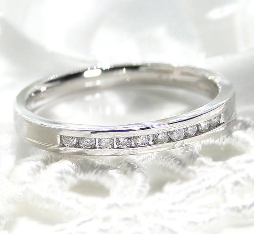 ハーフエタニティリング ダイヤモンド [0.1ct] Pt950/ プラチナ リング 指輪 レディース ダイアモンド エタニティー シンプル 0.1カラット 重ねづけ 華奢 ジュエリー ギフト プレゼント 送料無料