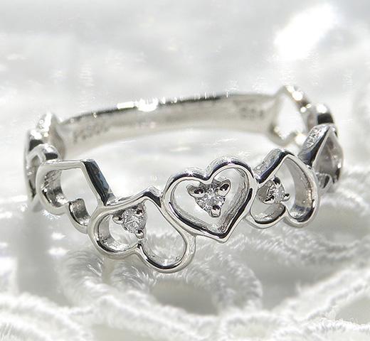 Pt950 ダイヤモンド ハート リング/ 送料無料 品質保証書付 プラチナ ダイヤ ダイアモンド オープンハート リング 指輪 レディース ジュエリー アクセサリー ギフト プレゼント diamond heart ring かわいい デート