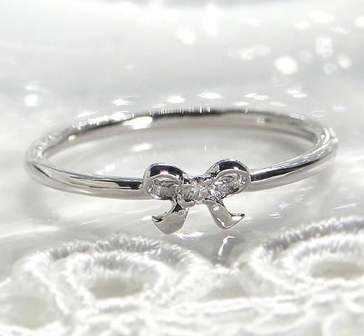 一粒ダイヤモンドリボンリングPt950(ハードプラチナ)/ 送料無料 品質保証書付 ハードプラチナ プラチナ リボンモチーフ 一粒ダイヤ ダイヤ ダイアモンド リボン リング 華奢 指輪 重ねづけ レディース ジュエリー ギフト プレゼント diamo