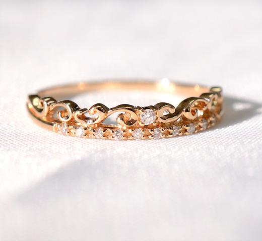 K18WG/YG/PG ダイヤモンド クラウンリング / 送料無料 品質保証書付 18K 18金 ゴールド ダイヤ ダイアモンド エタニティ 王冠 ティアラ クラウンモチーフ 2連リング 指輪 ファッション レディース ジュエリー ギフト プレゼント crown motif diamond ring