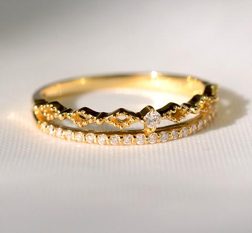 K18WG/YG/PG ダイヤモンド 2連リング/ 送料無料 品質保証書付 18k 18金 ダイヤ ダイア 2連リング ミル打ち アンティーク 一粒ダイヤ エタニティリング 重ねづけ リング 指輪 エタニティー レディース ジュエリー ギフト プレゼント diamon