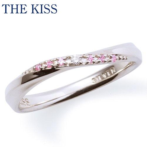 【送料無料】【THE KISS】【ペアリング】ダイヤモンド ピンクキュービック レディース シルバーリング(レディース単品)