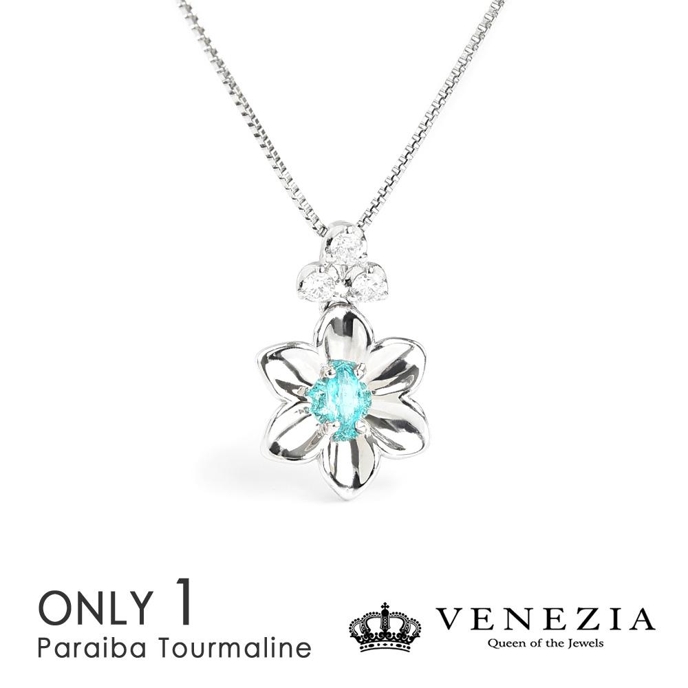 パライバトルマリン Pt900 プラチナ 稀少石 フラワーモチーフ 0.05ct ダイヤモンド 0.05 ネックレス ペンダント ギフト プレゼント 天然石 宝石 限定1点もの