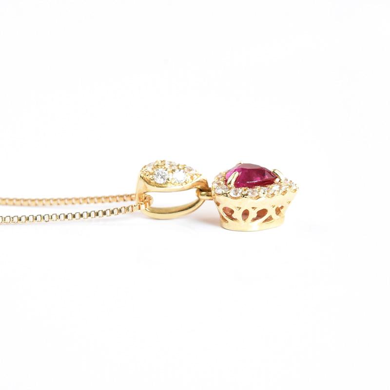 【限定1点もの】ハートシェイプ ルビー ネックレス K18YG 0.24ct 7月 誕生石ダイヤモンド 0.12 ペンダント ギフト プレゼント 天然石 宝石