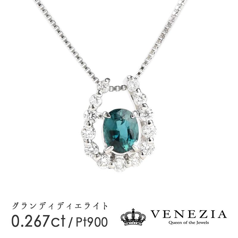 グランディディエライト ネックレス 0.267ct Pt900 プラチナ 稀少石 レアストーン ダイヤモンド ペンダント ギフト プレゼント 天然石 宝石 限定1点もの
