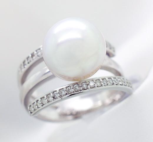 限定 1点もの K18WG 南洋パール リング 品質保証書付 18k 18金 南洋真珠 パール pearl 真珠 指輪 レディース ジュエリー 結婚30周年 パール婚式 真珠婚式