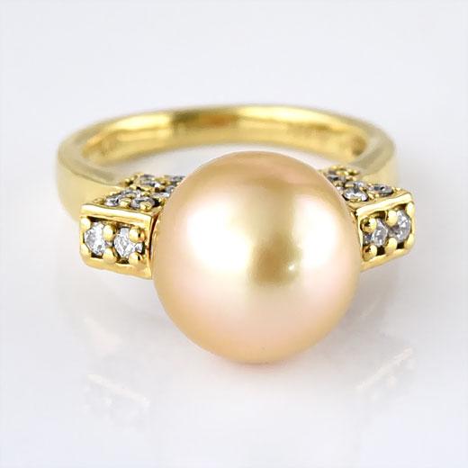 ゴールデンパール リング K18YG ナチュラルカラー 天然色 ラウンド 丸玉 品質保証書付 18k 18金 ゴールド pearl 真珠 指輪 ジュエリー 結婚30周年 パール婚式 真珠婚式 限定1点もの