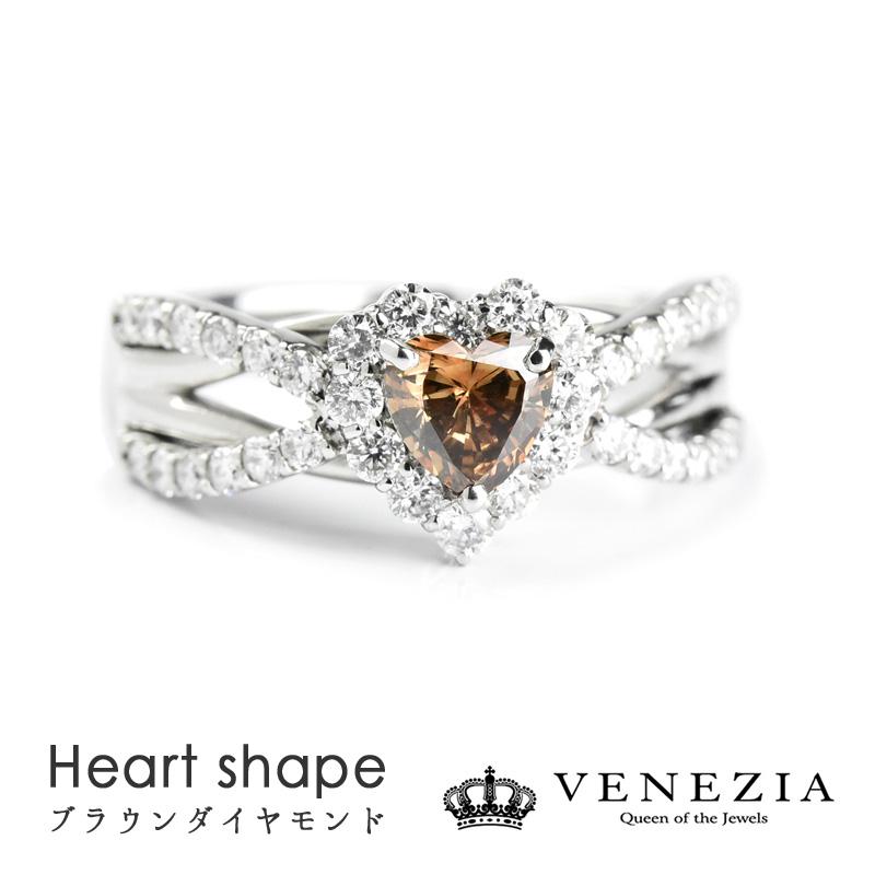 ブラウンダイヤモンド Pt900 プラチナ ハートシェイプ ブラウンダイヤモンド 0.386ct ダイヤモンド リング 指輪 天然石 宝石 限定1点もの