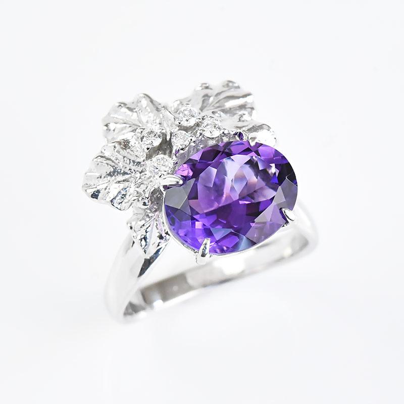 1点限り 限定品 アメジスト リング 指輪 2.83ct K18WG ホワイトゴールド ダイヤモンド 限定1点もの 新商品