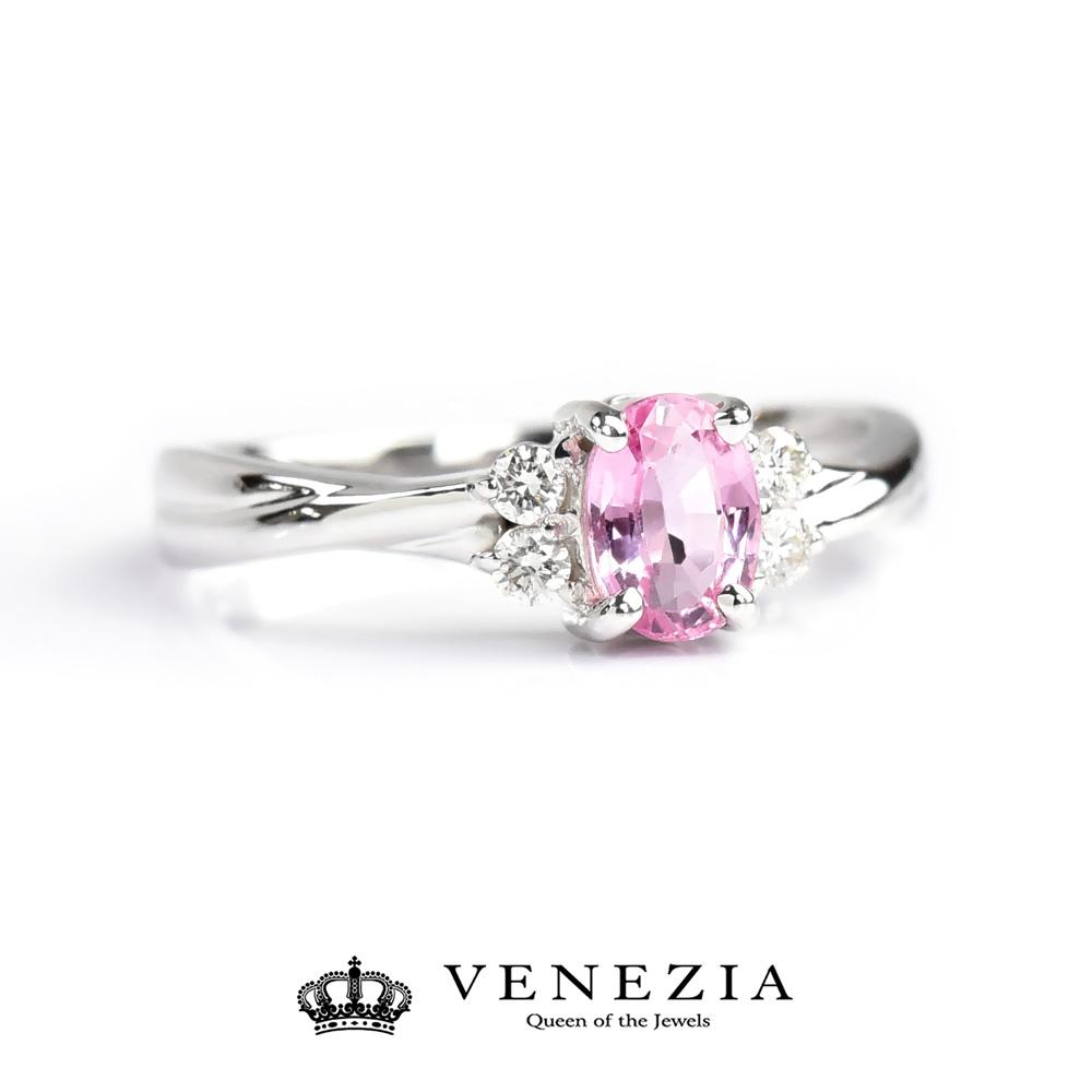 K18 ピンクサファイア リング/ 送料無料 品質保証書付 18K 18金 ホワイトゴールド ピンクサファイヤ リング 指輪 誕生石 9月 レディース ギフト プレゼント VENEZIA