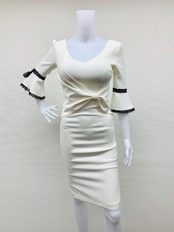 キャバドレス・東大門・キャバドレス・ベルスリーブ・ナイトドレス・ワンピース・フロントリボンデザイン・膝丈ワンピ・七分袖