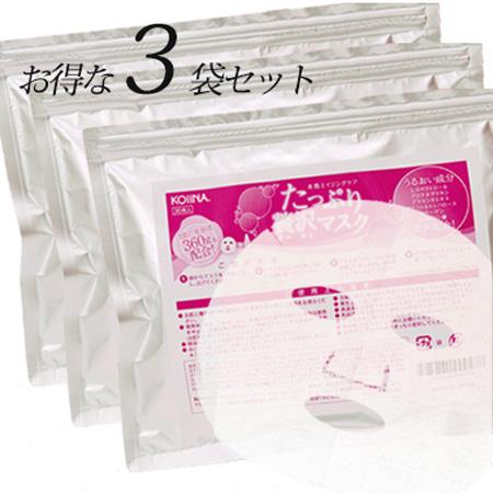 顔パック 100枚 日本製 はがれにくい 美容液たっぷり エイジングケア 保湿 koiina コイーナ たっぷり贅沢マスク 100+8枚【36枚×3袋 セット】