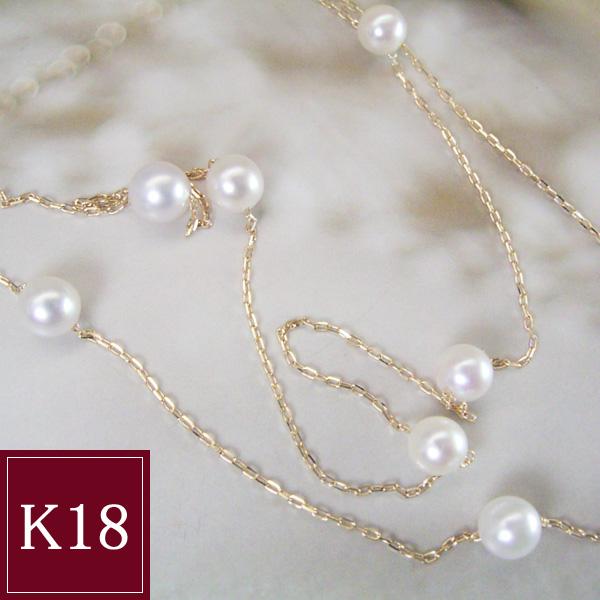 お試し価格 本真珠 ネックレス K18 ベビーパール 18金 品番AT-013 3営業日前後の発送予定