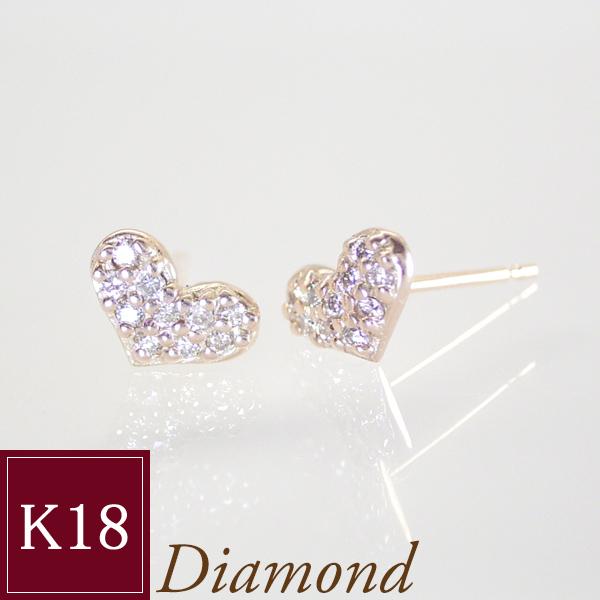 ダイヤモンドを敷きつめたパヴェの美しさ 天然 ダイヤモンド ピアス K18ピンクゴールド 品番MA-030 3営業日前後の発送予定 期間限定今なら送料無料 ハートパヴェ NEW売り切れる前に☆